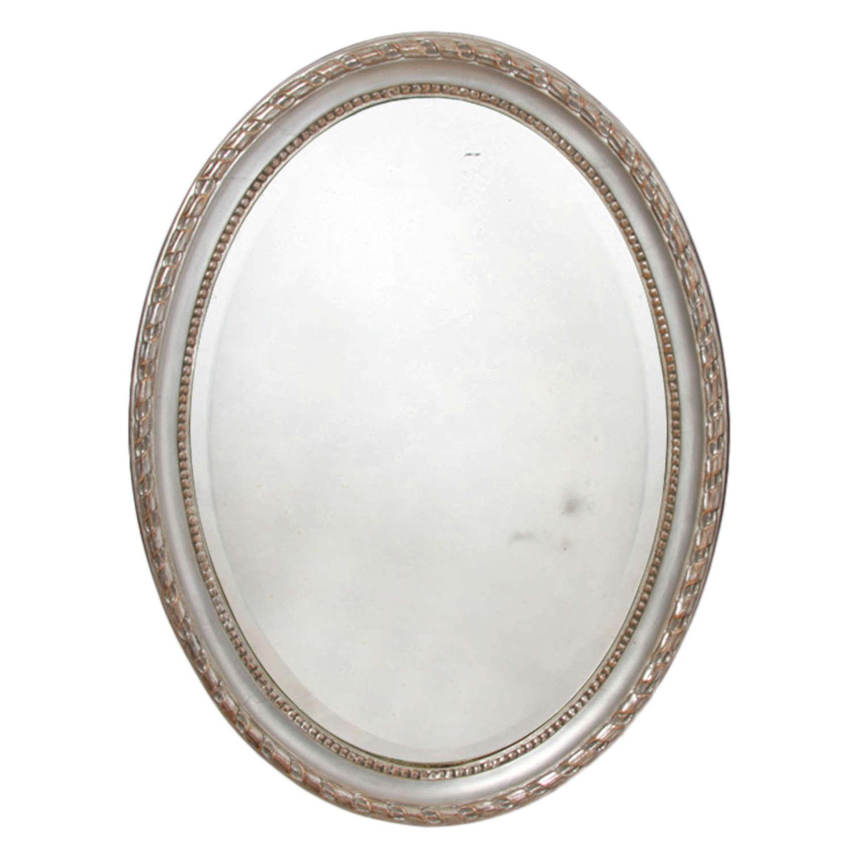 French 19th Century Silver Leaf Oval Mirror