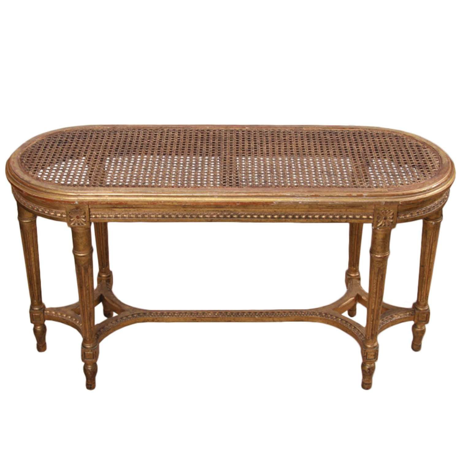 Small French Early 20th Century Cane and Giltwood Bench
