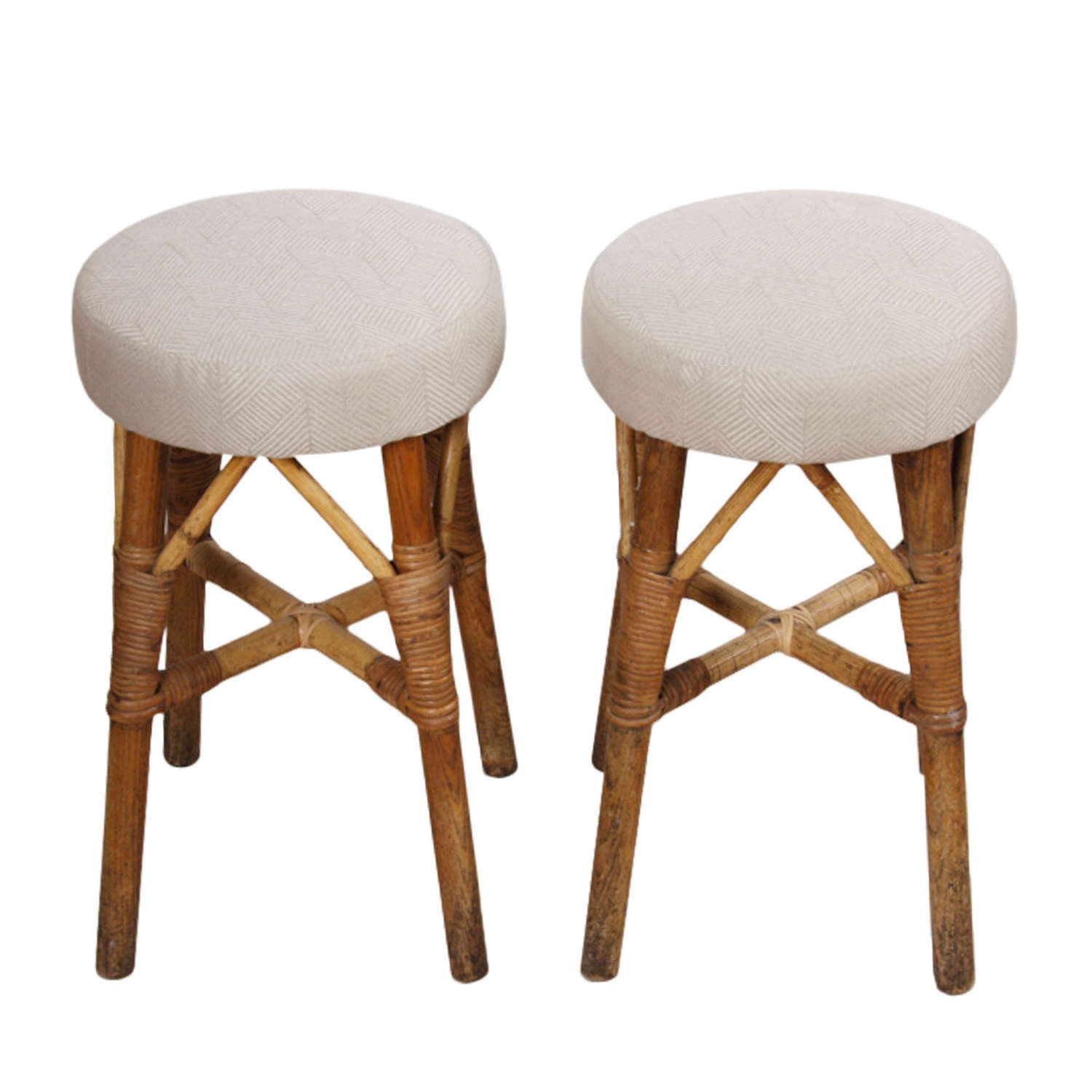 Pair of French 1920s Wood and Cane Upholstered Stools