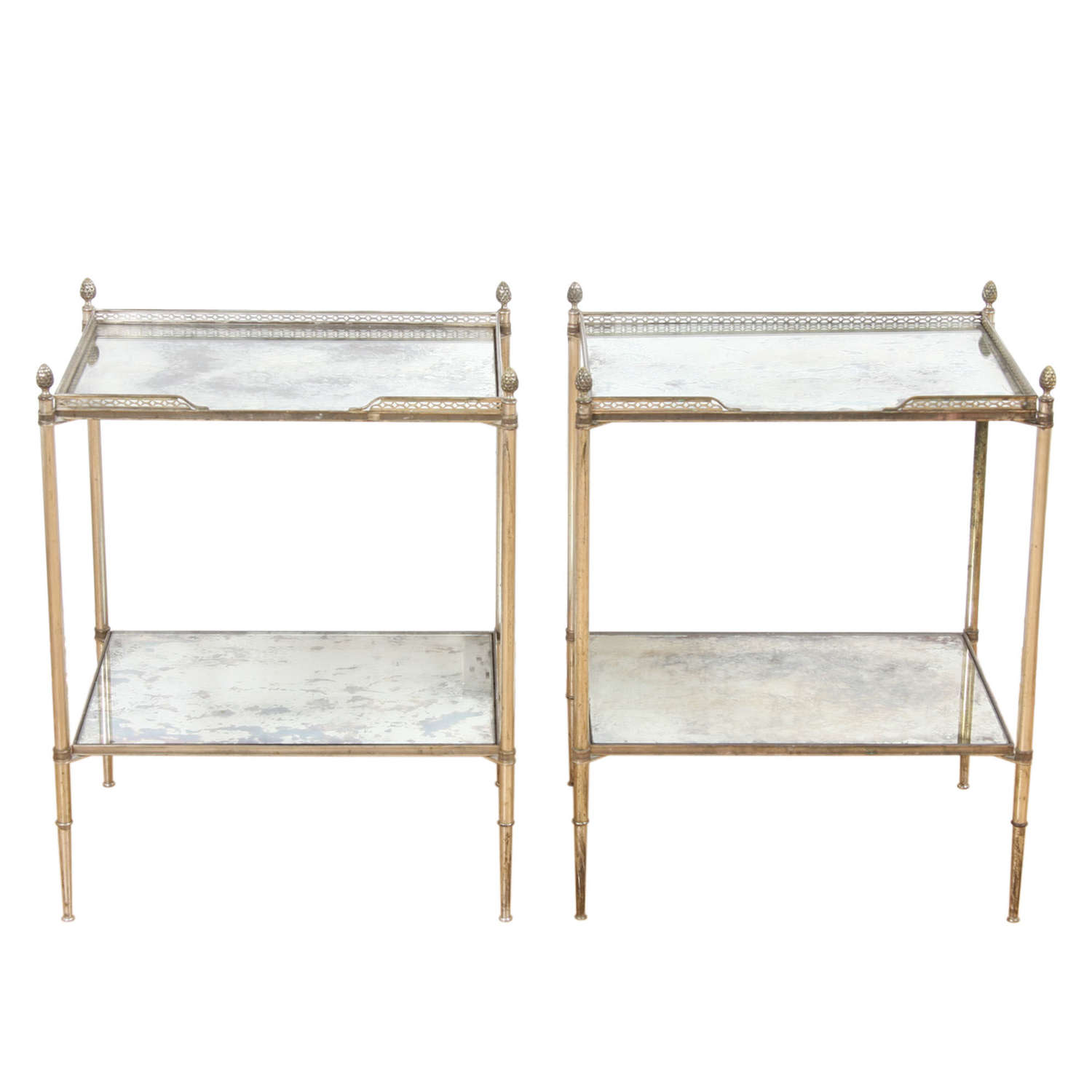 Pair of French 1960s Silver Plated Brass and Eglomise Glass Tables