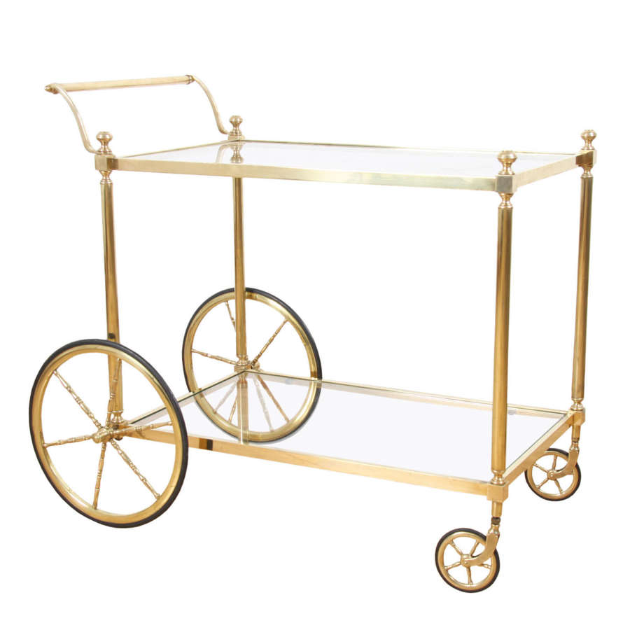 French 1960s Brass and Glass Drinks Trolley