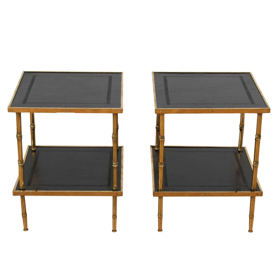 Pair of French 1960s Faux Bamboo Brass and Leather Tables