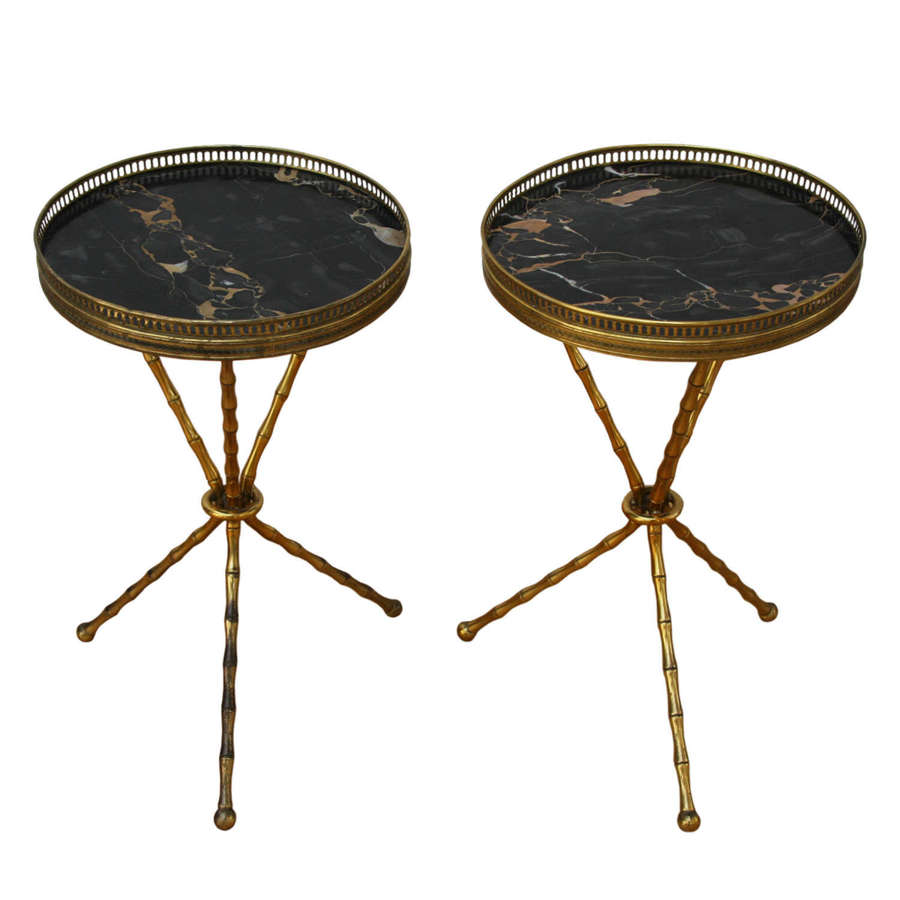 Pair of 1960s French Faux Bamboo Brass and Marble Side Tables