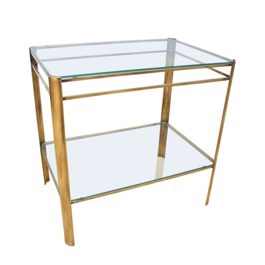 Jacques Quinet 1960s Brass and Glass Side Table