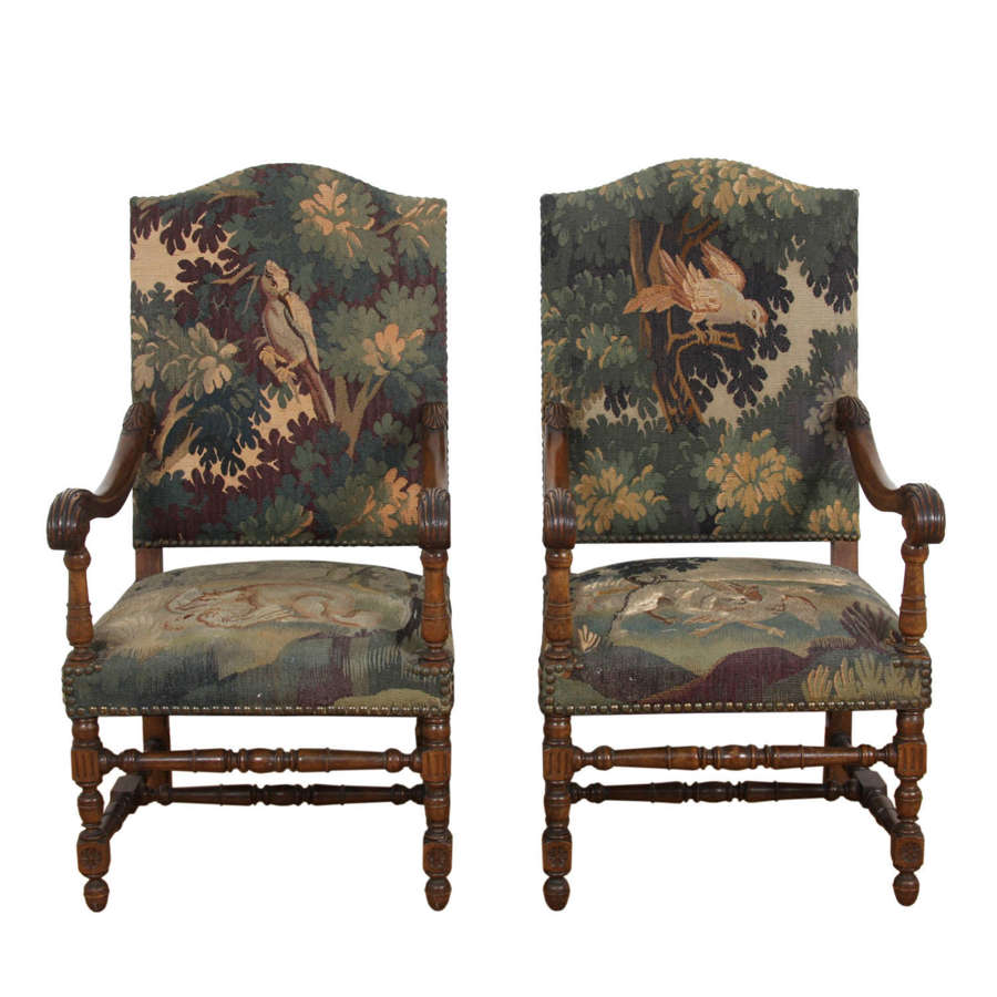 Pair of French 19th Century Walnut Tapestry Chairs