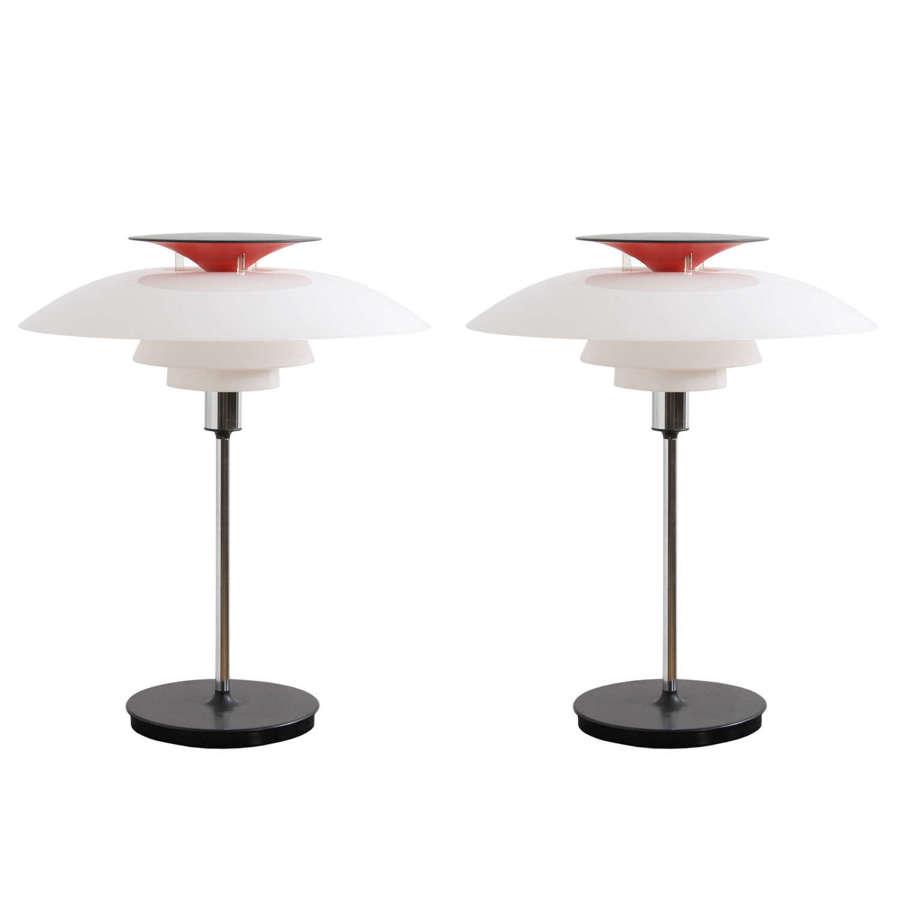 Pair of 1970s Louis Poulsen Danish Table Lamps