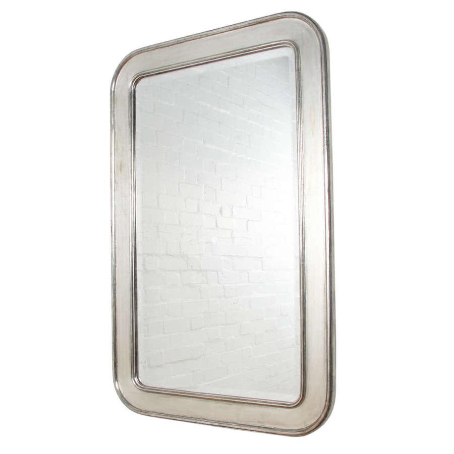 French 19th Century Wide Framed Silver Leaf Mirror