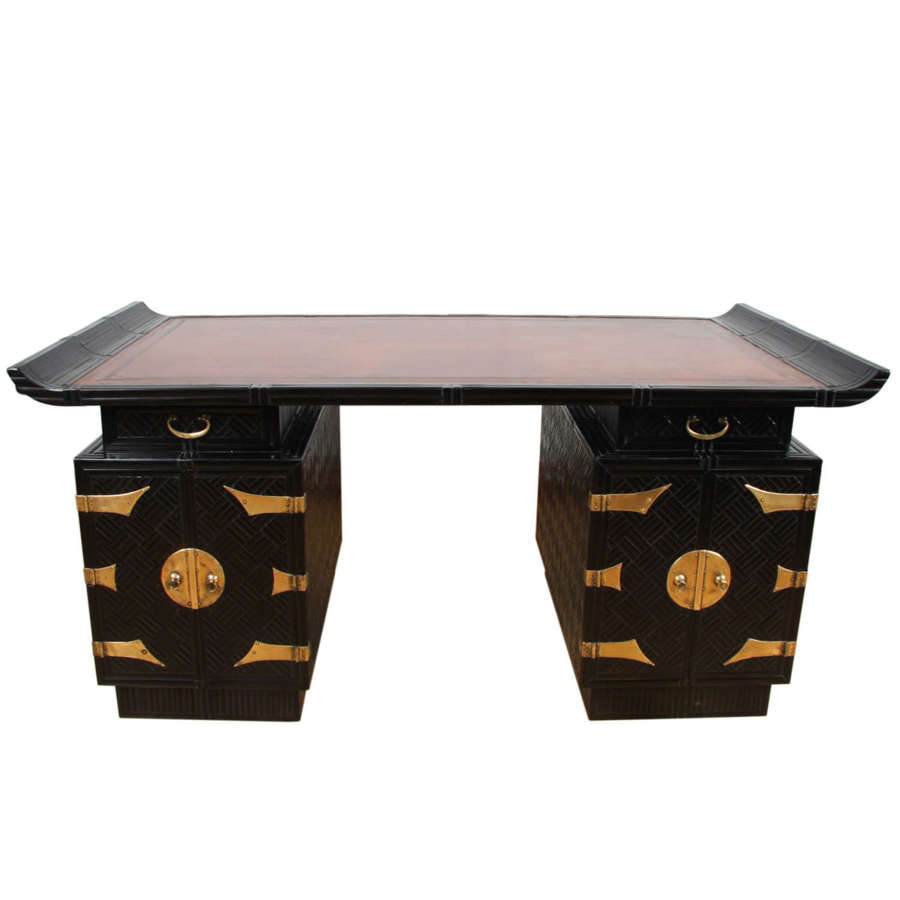 French 1960s Ebonised Bamboo Desk With Leather Top