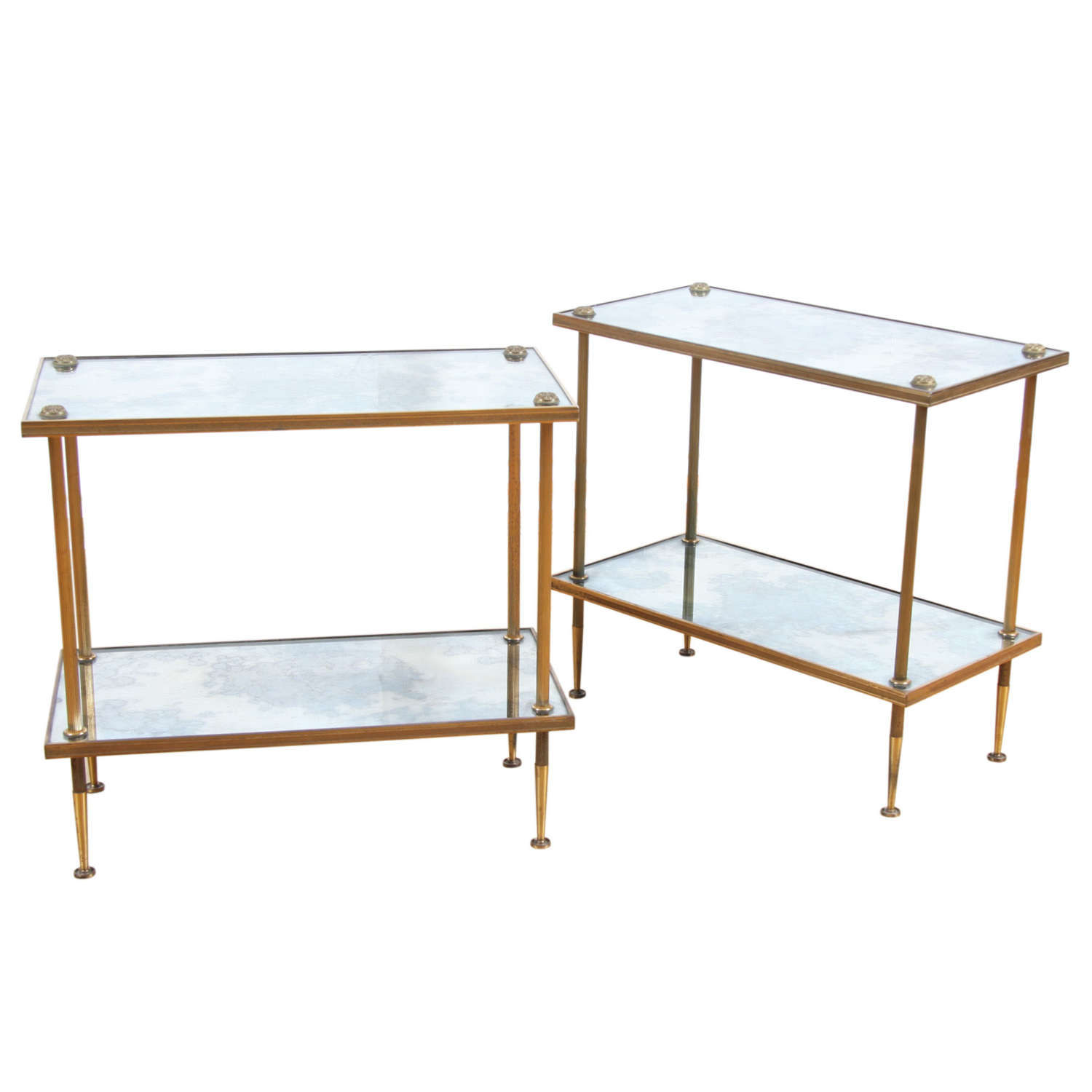 Pair of 1950s French Side Tables With Daisy Finials