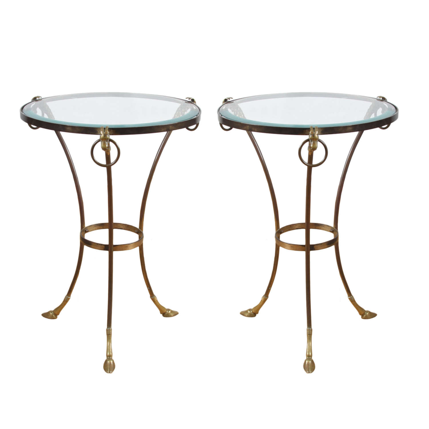 Pair of French 1950s Side Tables With Rams Head Detail