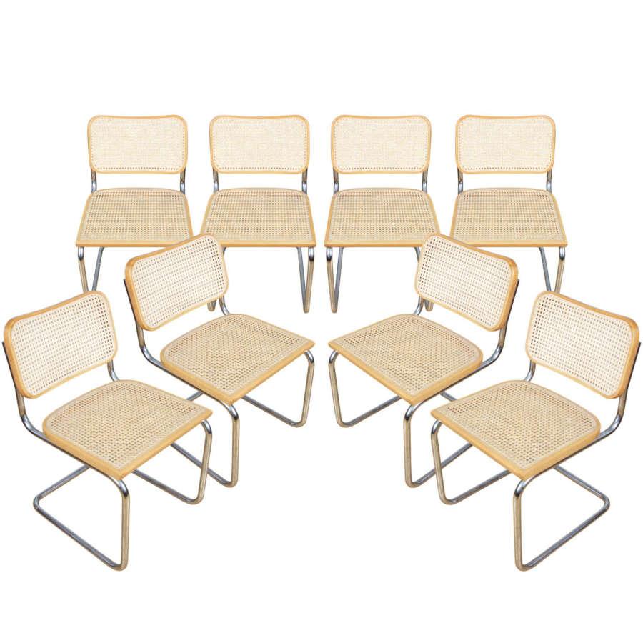 Set of 8 1970s Cesca Chairs, Italian